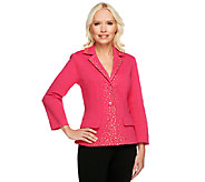 Joan Rivers Embellished Ponte Knit Bracelet Sleeve Jacket - A252127