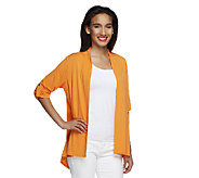 Susan Graver Liquid Knit Cardigan with Novelty Button Back Detail - A252427