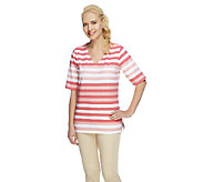 Denim & Co. Perfect Jersey Elbow Sleeve V-neck Striped Top - A254227
