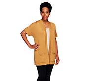 Joan Rivers Short Sleeve Drop Shoulder Knit Cardigan - A254427
