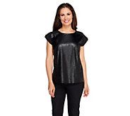 View by Walter Baker Faux Leather Short Sleeve Blouse - A256627