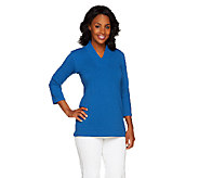 Susan Graver French Terry 3/4 Sleeve V-Neck Top with Side Slits - A257127