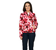 Isaac Mizrahi Live! Blurred Floral Printed Knit Denim Jacket - A262027