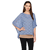 Lisa Rinna Collection Knit Caftan Top with Laser Cut Detail - A263127