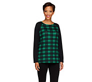 As Is Denim & Co. Heavenly Jersey Plaid Knit Top with Raglan Sleeves - A264027