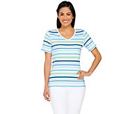 Liz Claiborne New York Striped V-neck T-shirt - A264127