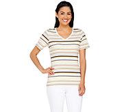 Liz Claiborne New York Striped V-neck T-shirt - A264127