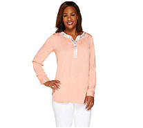 Bob Mackie's Embellished Split V-neck Roll Tab Sleeve Top - A265727