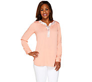 Bob Mackies Embellished Split V-neck Roll Tab Sleeve Top - A265727