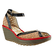 Fly London Perforated Wedges w/ Adj. Ankle Strap - Ydel Perf - A266427