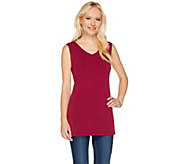 Susan Graver Essentials Liquid Knit Sleeveless V-neck Tunic - A266827