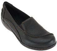 As Is Clarks Leather Slip-On Shoes w/ Goring - Ashland Violet - A268927