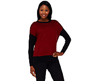 Susan Graver Plush Knit Long Sleeve Color-Block Sweater - A269227
