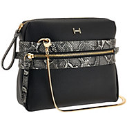 H by Halston Pebble Leather & Snake Print Crossbody Handbag - A269727