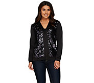 Bob Mackies V-Neck Zip Front Sequin Scuba Jacket - A271127