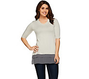 LOGO by Lori Goldstein Knit Top with Tiered Chiffon Trim - A273327