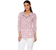 Susan Graver Artisan Printed Liquid Knit Embellished 3/4 Sleeve Top - A275227