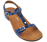 Vionic Orthotic T-Strap Sandals with Adjustable Straps - Isla - A275727