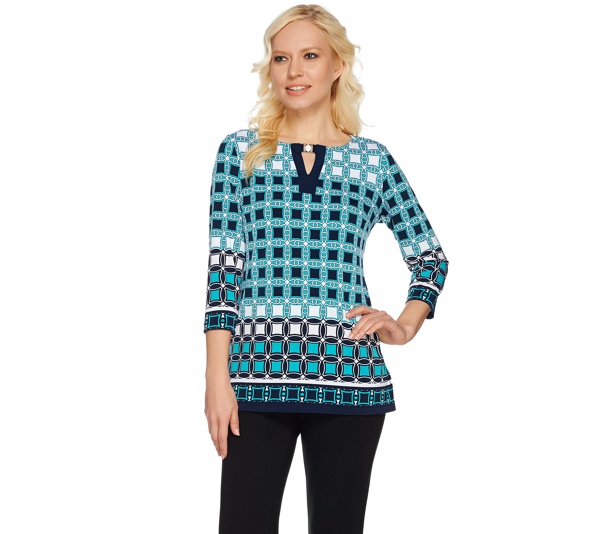 Susan Graver Printed Liquid Knit 3 4 Sleeve Top W Keyhole