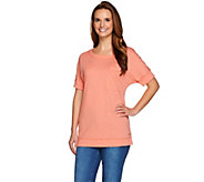 Isaac Mizrahi Live! SOHO Double Cuff Pocket T-shirt - A276927