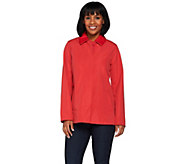 Dennis Basso Water Resistant Jacket with Faux Leather Collar - A278227