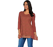 LOGO by Lori Goldstein Cotton Slub Knit Top with Eyelet Detail - A279027