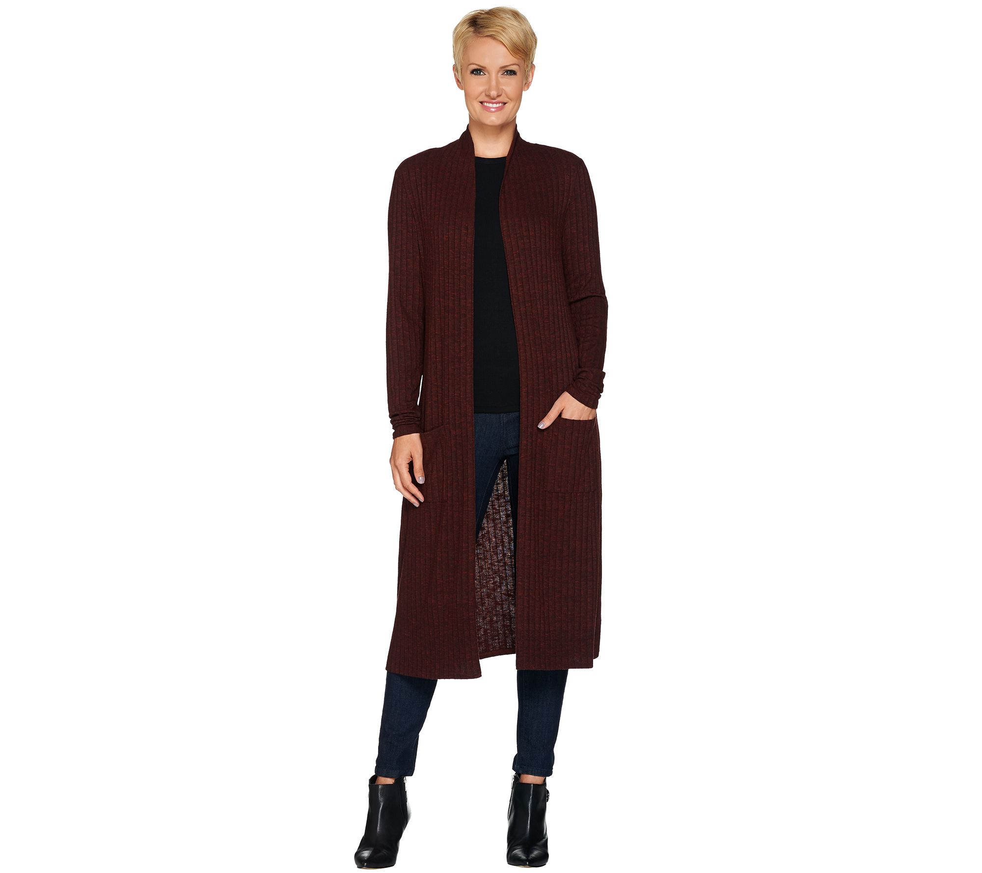 Lisa Rinna Collection Open Front Duster Cardigan with Pockets ...
