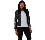 As Is G.I.L.I. Zip Front Leather Jacket with Seaming Detail - A281827