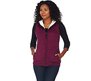 Denim & Co. Zip Front Hooded Sweater Vest with Sherpa Lining - A283627