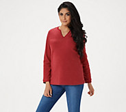 Denim & Co. Essentials Split V-Neck Chenille Fleece Long Sleeve Top - A284527