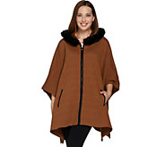 Dennis Basso Zip Front Knit Poncho with Faux Fur Trim - A284827