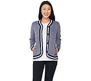 C. Wonder Button Front Marled Sweater Cardigan with Striped Ribbing - A286427