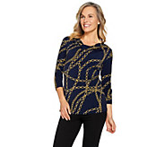 Susan Graver Printed Liquid Knit 3/4 Sleeve Top - A286727