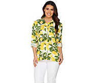 C. Wonder Lemon Print Button Front Carrie Blouse - A288827