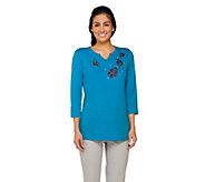 As Is Quacker Factory Summer Beaded Split Neck 3/4 Sleeve T-shirt - A289527