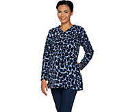 Denim & Co. Petite Animal Print Fleece Tunic w/ Pockets - A296227