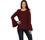 G.I.L.I. Cold Shoulder Cable Knit Sweater - A297927