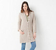 Aran Craft Merino Wool Long Button Front Cardigan - A305727