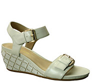 David Tate Leather Wedge Sandals - Touch - A339727