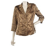 Joan Rivers Textured Metallic Python Pattern Jacket - A213028