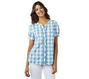Denim & Co. Short Sleeve V-neck Plaid Woven Shirt - A215728