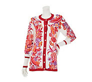 Bob Mackies Summer Harvest Button Front Cardigan with Contrast Trim - A222228