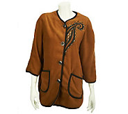 Bob Mackies Fleece Jacket with Contrast Trim and Embroidery - A228628