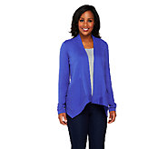 Susan Graver Weekend Brushed French Terry Cascade Front Cardigan - A229128