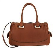 As Is B. Makowsky Glove Leather Zip Top Convertible Satchel - A232128