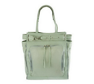 As Is Kelsi Dagger Draco Leather North/ South Tote with Buckle Detail