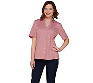 Denim & Co. Stretch Denim Short Sleeve Camp Shirt w/ Roll Tab - A252728