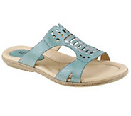 Earth Leather Perforated Slip-on Sandals - Lagoon - A253728