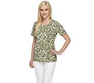 Denim & Co. Perfect Jersey Mosaic Print Short Sleeve Top - A254228