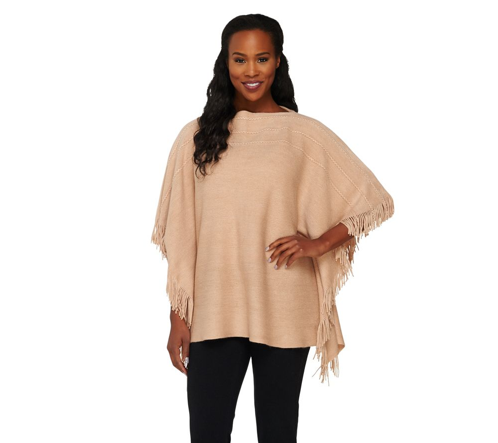 Layers by lizden marvelush cable knit fringed poncho a262828